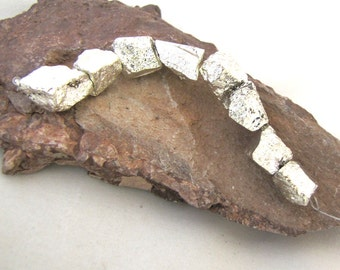 Titanium Silver Color Coated Pyrite Rough Nugget Beads with Bright Metallic Finish - set of 8