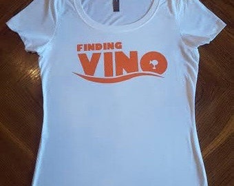 Finding Vino Ladies Scoop Neck T-Shirt - Epcot Food and Wine Festival - Drinking Around the World - Disney Inspired - Nemo