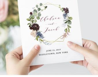 Folded Wedding Program Template, Folded Booklet, Order of Service, INSTANT DOWNLOAD, 100% Editable, Burgundy & Gold Floral, Boho #040-115WP