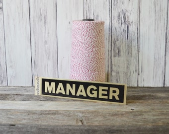 Manager Sign Store sign Door Sign Sticky sign Adhesive sign Metal Sign Vintage Sign NOS