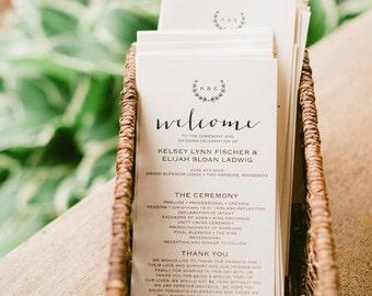 Rustic Wedding Program Template, Wedding Program Printable, Wreath, DIY Ceremony Printable Template, PDF Instant Download #BPB168_3