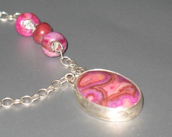 Fuchsia Crazy Lace Agate Oval Pendant on Sterling Silver Chain Asymmetrical Necklace