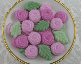 36 Pink Open Rose and Leaf shaped sugar cubes for tea party, bridal shower, wedding sugar, shower sugar, party favors, flower sugar cubes