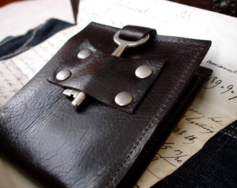 Dark Brown Leather Wallet with Vintage Skeleton Key - Men's Espresso Steampunk Bifold