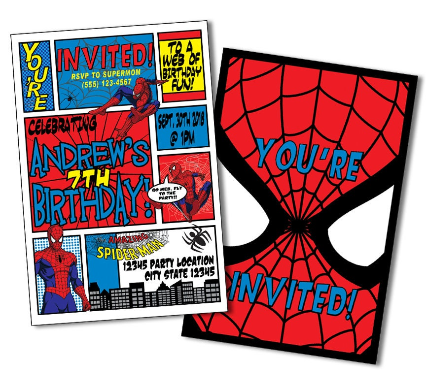 Superhero Invitation Spiderman Birthday Invitations