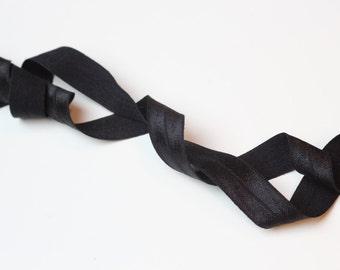 1m (1.09 yd) Fold Over Elastic (FOE) - Black - 15 mm Wide
