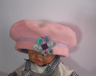 Hat / beret pink fleece girl 2 years