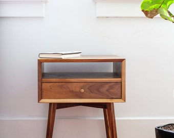 Mid Century Nightstand, Bedside Table with Drawer, Solid walnut, Modern Bedroom Furniture