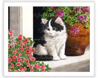 Fine Art Giclee Print Cats Cat Painting Illustration Watercolor Feline Kitten Spring Flowers Wall Art Decor