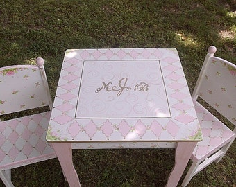 Childrens Table and Chair set, PINK GOLD, Roses, Kids Furniture, Tea Party table, Personalized
