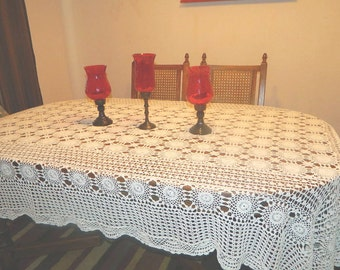 Hand Crocheted White Tablecloth - Rectangle - 104 x 72 - FREE SHIPPING