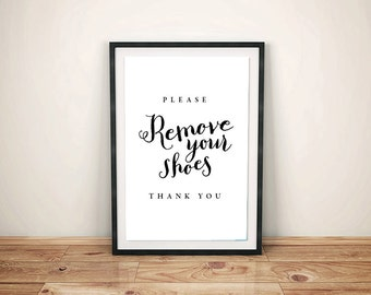 Please Remove Your Shoes Sign | Printable | Digital File | PDF | Instant Download