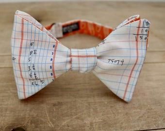 Reversible Math Graph Paper and Orange Paper Clip Bow Tie by Adam Speicher