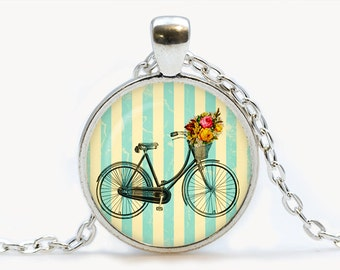 Vintage bicycle glass Pendant. Vintage bicycle Necklace. Vintage bike flowers jewelry, birthday gift.