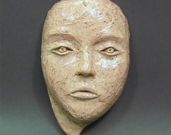 Face wall sculpture, handmade female face mask, ceramic mask, wall hanging sculpture, wall decoration, ceramic art, wall hanging art, HOPE