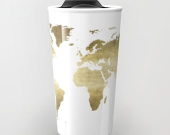 Items similar to floral world map travel mug ceramic travel mug pink gold foil world map travel mug ceramic travel mug wanderlust travel gifts girls to go mug office gifts for her under 40 black gold gumiabroncs Image collections