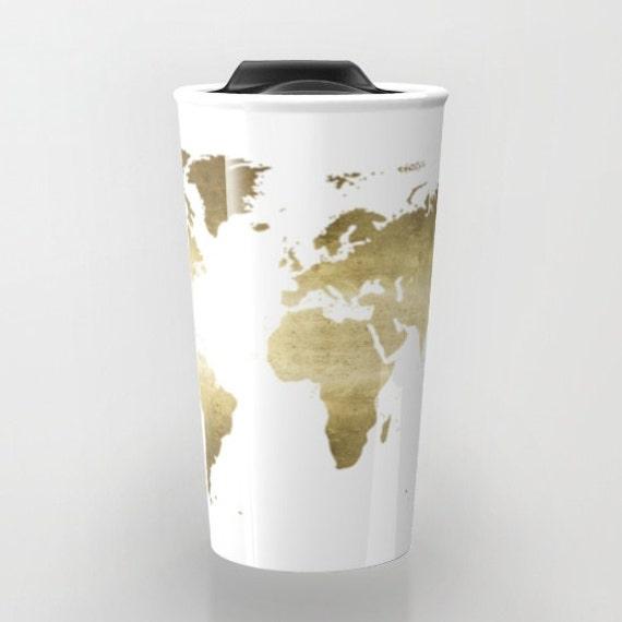 Gold foil world map travel mug ceramic travel mug wanderlust description gold foil world map travel mug gumiabroncs Image collections