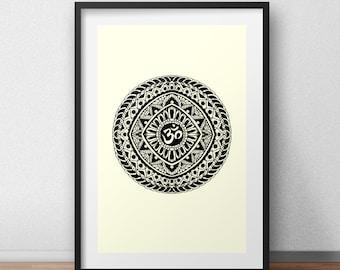 Mandala Screen Print Art Om Symbol Graphic Design Screenprint Poster  Screen Print Poster
