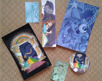 Set of bookmarks, stickers and postcards the fairy of time