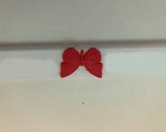 Butterfly in 3d -  White with RED 3d VERSION Automotive License Plate Frame -