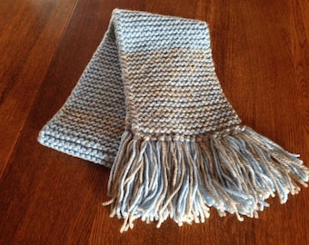 Hand knit wool scarf with fringe