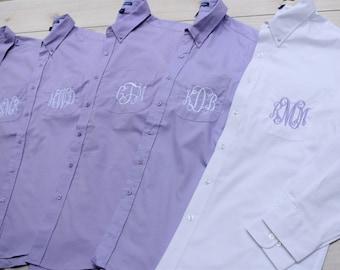 Monogrammed Button Down Bridesmaid Shirts , Bridesmaids Gift Shirt, Wedding Party Gift