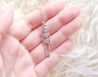 Silver Skeleton Necklace | Creepy Necklace |  Grungy Necklace | Halloween Jewellery | Skeleton | SALE