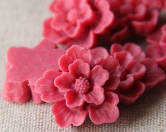 12 pcs of sakura flower cabochon-22mm-rc0166-43-rose pink