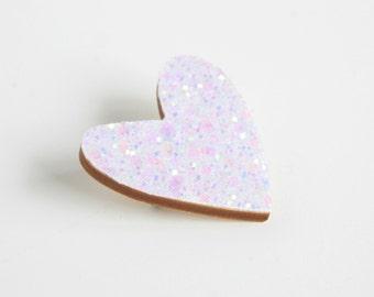 White Glitter Heart Pin, Glitter Heart Brooch, Wooden Love Heart Brooch Pin, Mother's Day gift