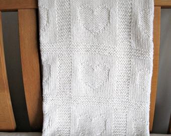 """Merino wool Baby Blanket """"Hearts"""", 80 x 90 cm, White, hand knitted"""