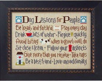 Lizzie Kate - Dog Lessons For People 143 - Counted Cross Stitch Pattern Chart