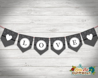 "Elegant Wedding ""Love"" Paper Bunting - INSTANT DOWNLOAD - printable PDF - Wedding Banner - Digital print - Wedding Sign - Engagement Sign"