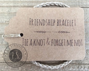 Handmade Gift - Simple Braid Friendship Bracelet w/ Gift Tag - 6 Hemp Colors & 3 Sizes.