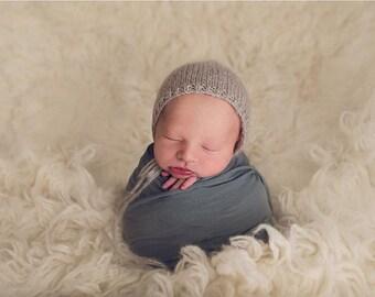 Newborn Hat, Newborn Bonnet, Mohair Bonnet, Mohair Newborn Hat, Mohair Hat, Newborn Mohair Hat, Baby Bonnet, Photography Prop, Photo Prop