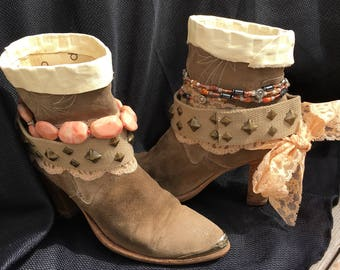 UPCycled Cowgirl Boots Size 8.5 - Ladies Cowboy Boots - Suede Bootie Boots