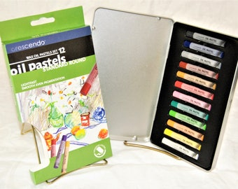 Crescendo Art Wax Oil Pastels Standard Round Set 12 Assorted Colors REAL QUALITY