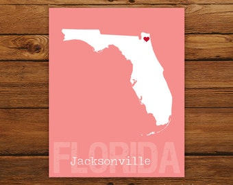 Custom Florida, Personalized State Print, State Love, State Map, Country, Heart, Silhouette, 8 x 10 Wall Art Print