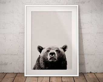 Forest Animals Bear, Nursery Bear Print, Nursery Bear Art, Woodland Bear Print, Bear Art Print, Bear Photography, Black And White Animals