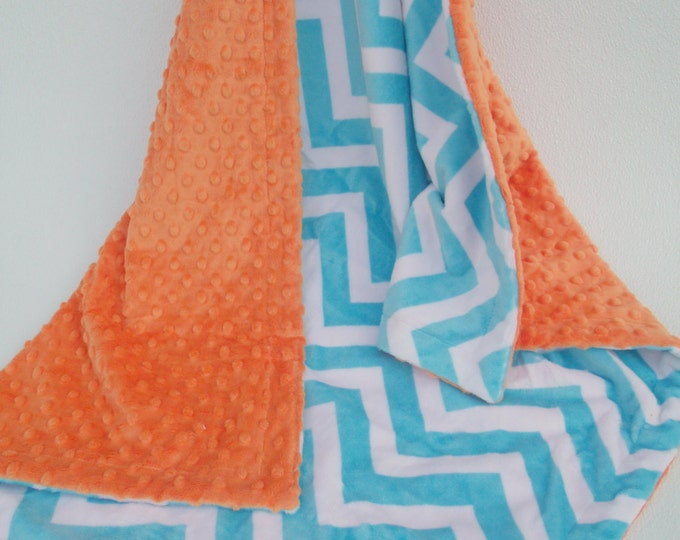 Aqua Chevron and Orange Minky Blanket