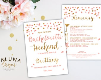 Bachelorette Party Invitation with Itinerary, Bachelorette Weekend Invitation, Glitter Bachelorette Invitation, Hens Party Invitation