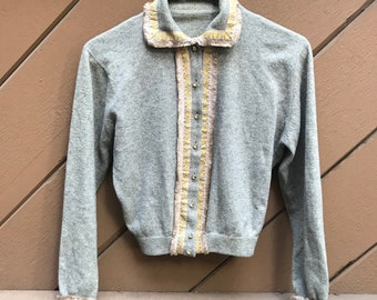 Vintage 50s Grey Cropped Cashmere Cardigan Sweater