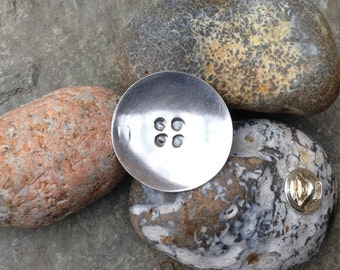 Button lapel badge / brooch - sterling silver
