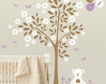 "Baby Nursery Tree Wall Decal Wall Sticker - Teddy Bear Tree Wall Decal - Tree Decals - Large: approx 88"" x 82"" - K004"
