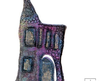 Felt Art Enchanted House Sculpture. Embroidery fiber art orignal and authentique. Piece unique for home decor. Collectible art.