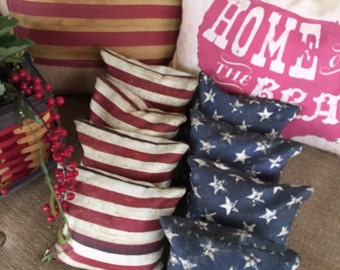 Cornhole Bags, 4th of July,  8 ACA Regulation Size and Weight, Cornhole Bags, Bean Bags/Baggo Toss, Serged and Safety Stitched #CB0000