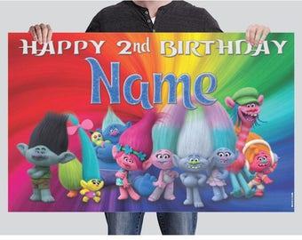 BANNER - Trolls Birthday Banner - Party Banner