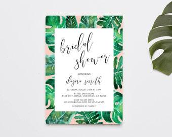 Bridal Shower Invitations, Tropical, Bridal Shower Invite, Palm Print, Printed Invitations (1114)