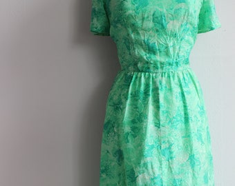 Original 1950s green and white floral dress
