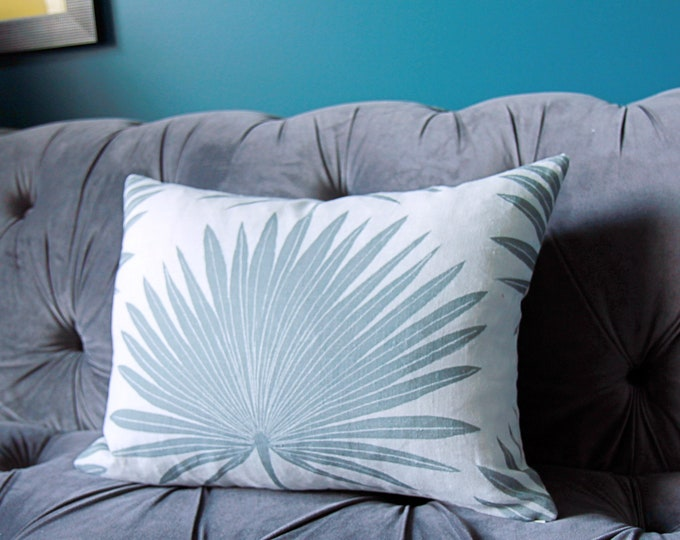 Clay Studio Pillow Cover - Mineral Palmetto Geometric Pillow Cover - Mineral Muted Green and Natural Pillow Cover