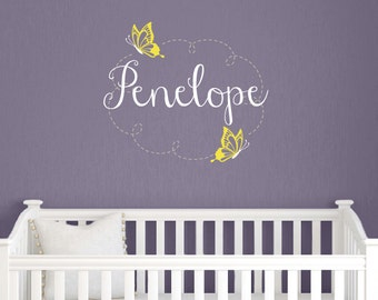Childrens Decor - Butterfly Vinyl Wall Art - Baby Girl Nursery Wall Decal Name